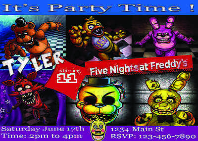 12 Pack Of 5 Nights At Freddys Birthday Party Invitations Personalized V 2 O 1099
