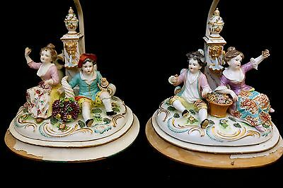 Spectacular Dresden Meissen Porcelain Figurine Group Pair of Lamps Antique 1800s