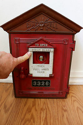 Fire Alarm Box Gamewell Pull Station 3326 White Fire Side Label Antique Vintage