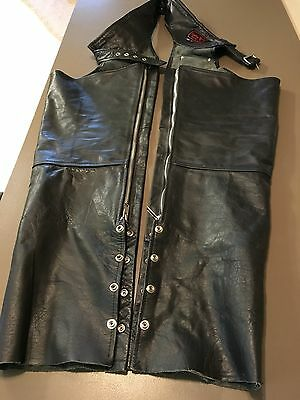 Leather World by Lucky Leather BLACK BIKER LEATHER CHAPS Men's L Good Condition