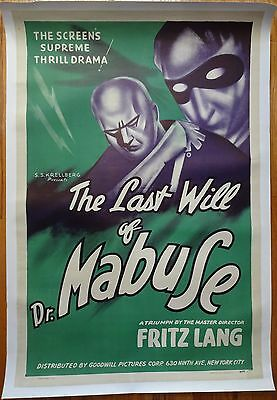Vintage Original The Last Will of Dr. Mabuse Movie Poster