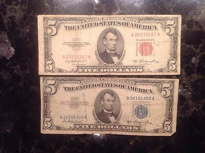 1953  $5 United States  Note - Red Seal + 1953 $5 Silver Certificate - Blue Seal