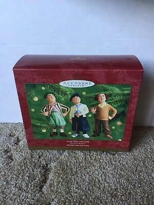 Three Stooges Larry Moe Curly Golfing Hallmark Keepsake Ornaments New 2000