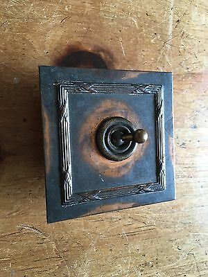 Antique Vintage Rare Brass Crabtree Vitreous Light Switch, Lovely Old Patina