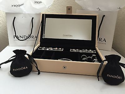 New Pandora Leather Jewelry Box w/ Mirror, Charms Rods and 2 Pandora Pouches!