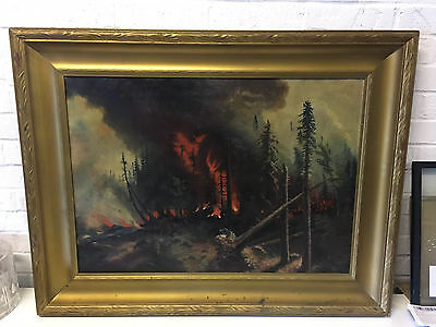 Antique Large Oil on Canvas Painting of a Forest Fire in a Gold Frame