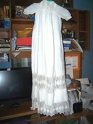 "Edwardian Linen Ivory Christening Dress 40"" Long Beautiful Lace"
