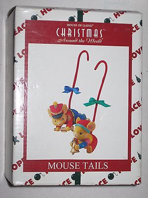 House Of Lloyd Christmas Around The World Ornaments 2 Hanging Mice Tails 1998