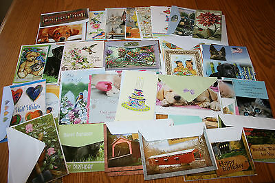 LOT of 35 ASSORTED GREETING CARDS, BIRTHDAY, GET WELL, THANK YOU, & NOTE CARDS