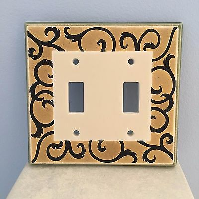Ceramic Switch Plate Tan with Black Scroll by All Fired Up - 2 Toggle