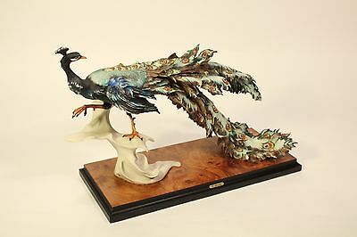 Vtg Giuseppe Armani Capodimonte Claw Up Peacock Bird Sculpture Numbered Signed