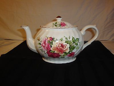 Arthur Wood Teapot 6507 Red Pink Yellow Roses