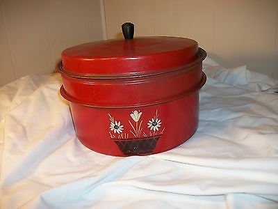 Vtg. Carlton Red Painted Tin Pot Stacked 3 Piece Tier Cake Pie Keeper Carrier