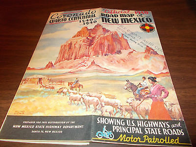 1940 New Mexico State-issued Vintage Road Map / Great Cover Art