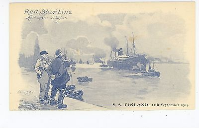 SS Finland—Red Star Line Steamer PMC—Antwerp New York City NYC Antique Boat AK