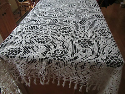"""Vintage 76"""" X 86"""" Hand Crocheted Tablecloth"""