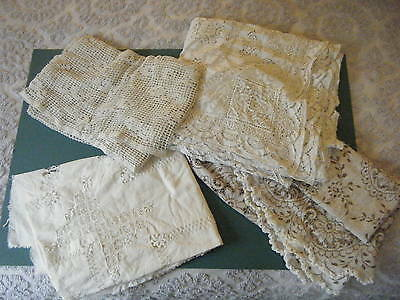 4 Antique Lace Tablecloths Cutters Lot Crochet, Broderie Anglaise, Pulled Thread