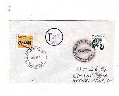 Australia 1975 9c Mineral TAXED, 2c Added Cover,cds SURREY HILLS Vic