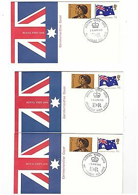 Australia 1970 Royal Visit on Official Covers ( Complete set of 22 Covers )