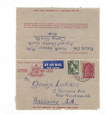 Australia 1957 4d + 3d added Airmail Lettercard to Adelaide, cds GRETA CAMP NSW