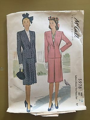 Vintage McCall Sewing Pattern 5978 1940's Misses' 2 Piece Suit Size 16 Bust 34