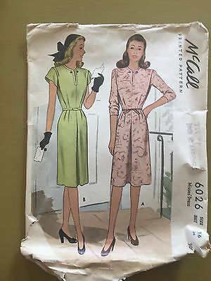 Vintage McCall Sewing Pattern 6026 1940's Misses' Dress Size 16 Bust 34