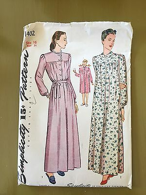 Vintage Simplicity Sewing Pattern 1402 1940's Women's Nightgown 16 Bust 34