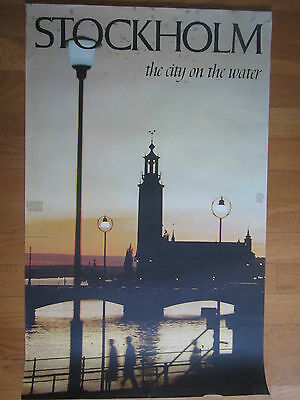 "Original Vintage 24.75"" X 39.5"" Stockholm Tourist Travel Poster"