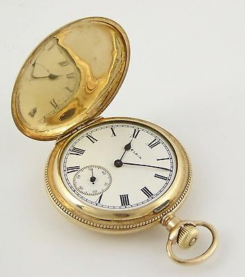 Antique Late 1800s Gold Plated Full Hunter Elgin Pocket Watch Needs Work LAYBY