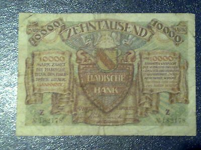 Germany - 10 000 Mark  Banknote 1923- Mannheim -Inflation - Very Fine