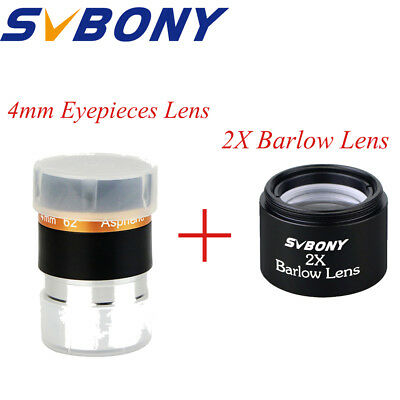 "SVBONY 1.25"" 31.7mm Wide 62-Deg Eyepiece Lens 4mm + 2x Barlow Lens For Telescope"