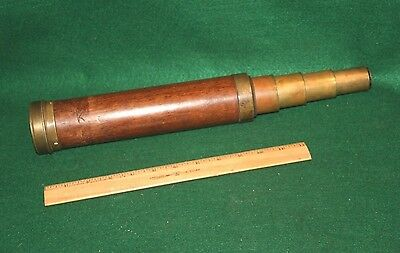 Antique Nautical Marine 4 Draw Brass Spyglass Telescope Made in France Inv# FD16