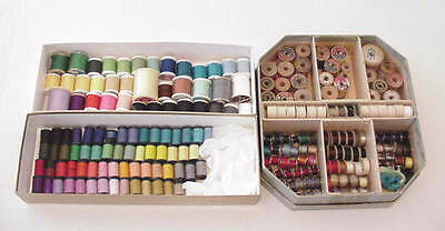 Lot 219 Many Colors Thread Wood Spools Bobbins Vintage Box