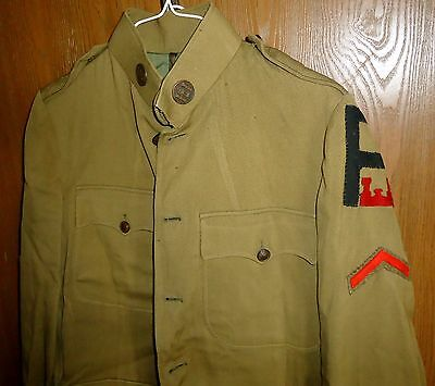 US Army WWI Jacket, 1st Army Engineers, Company B, Corporal Engineer, 12 Mo OS