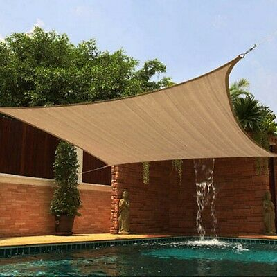 Sun Shade Sail UV Block Top Cover Outdoor Canopy Patio Triangle Square Rectangle