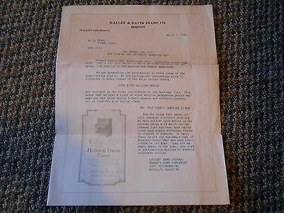 Old Vintage Antique 1916 Hallet & Davis Piano Boston Paper Advertising Virtuolo