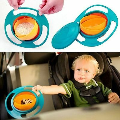 360 degree Rotating Gyro Bowl Avoid Food Spilling Baby Kid Non Spill Feeding Tod