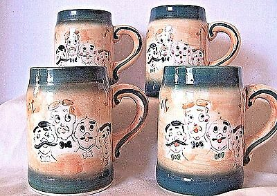 Four Vintage Barber Shop Quartet Beer or Coffee Mugs by L &M Pennsbury Pottery