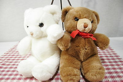 GUND  Two 9 inch TENDER TEDDY  Bears, White and Mid-brown  (C11)