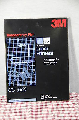 """3M Transparency Film x50 for LASER Printers CG 3360 8 1/2"""" x 11""""  Black on Clear"""