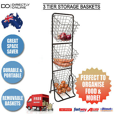 3 Tier Vegetable Storage Fruit Basket Stand Organiser Metal Food Pantry New