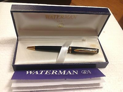 Waterman Expert II Black Ballpoint Pen Paris, France In Original Box with Papers