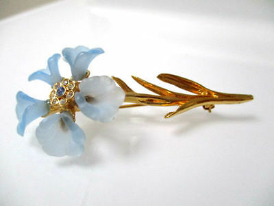 VMFA 1988 Vintage Gold Tone Flower Pin Brooch crystals Frosted Glass 7.5CM