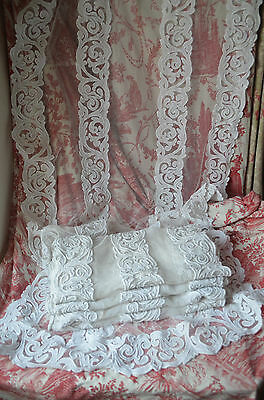 A white work appliqué on filet net lace curtain,  Art Nouveau, end 19th century
