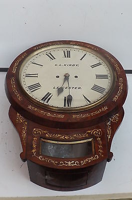 Wall Clock Double Fusse Victorian Leicester Clock mother of Pearl in rosewood.