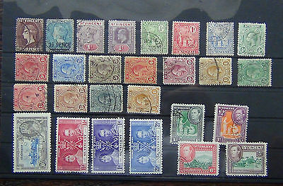 St Vincent 1885 4d 1921 values to 1s 1937 Coronation FU + others