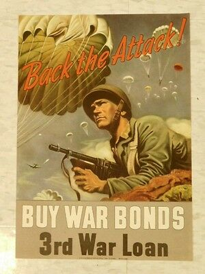 Back The Attack Buy War Bonds Vintage 1943 WWII Patriotic Poster Army Man