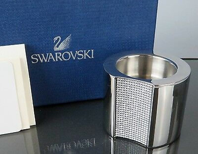 100% Authentic SWAROVSKI Crystal Candle Holder Silver-Tone With Box