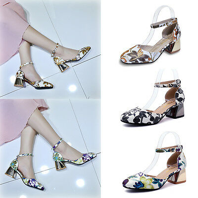 Mary Jane Women Mid Block Heel Ankle Strap Floral Sandals Pumps Party Shoes