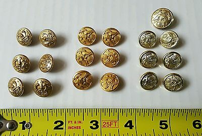 Army Uniform Buttons 19 Vintage Gold Colored Metal Meyer NY Waterbury HS